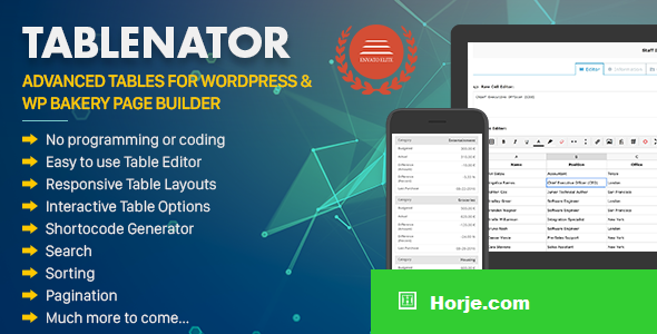 Tablenator v2.0.1 - Advanced Tables for WordPress